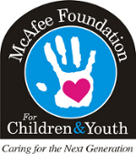 McAfee Foundation for Children and Youth logo with handprint and pink heart in middle