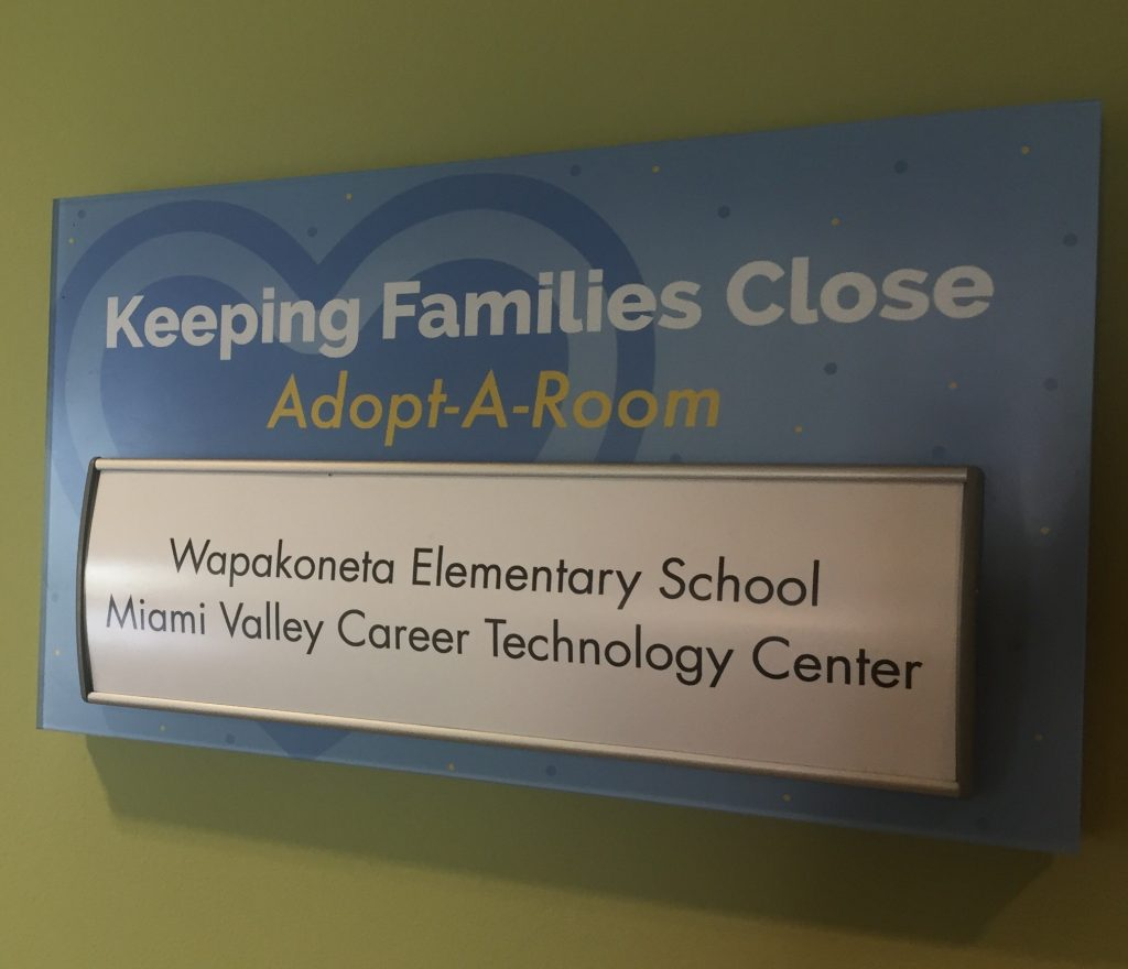Adopt a Room plaque displayed by the RMHC Dayton kitchen