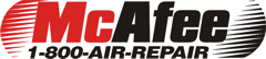 McAfee Heating and Air Conditioning logo 1-800-AIR-REPAIR Black and red