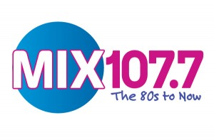 "MIX 107.7 ""The 80s to Now"" logo with blue circle"
