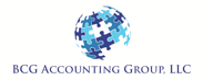 BCG Accounting Group logo, puzzle piece globe