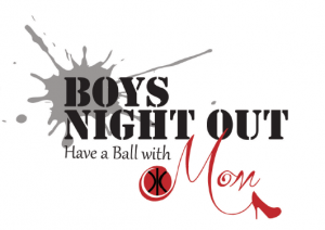 Boys Night out logo with basketball and red shoe
