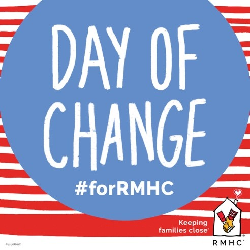 Day of Change #forRMHC photo, red and white stripes with blue circle and RMHC logo