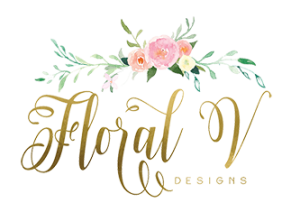 Floral V Designs logo with flowers