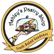 "Ashley's Pastry Shop logo with hand holding pastries ""Fresh baked goodness"""