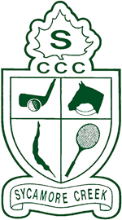 Sycamore Creek Country Club logo, green putter, horse, racquet