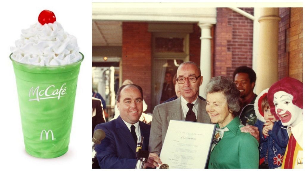 Left: Shamrock Shake Right: Jimmy Murray and Audrey Evans at the opening of the first Ronald McDonald House. MCDONALDS