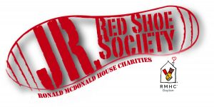Junior red shoe society with shoeprint and rmhc logo