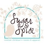 Sugar and Spice custom children's apparel logo with bird and flowers