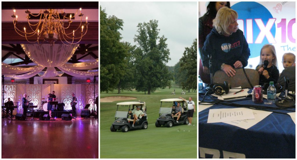 Photos of three signature events, band playing in hall, golf carts, and MIX 107.7 Radiothon host with children