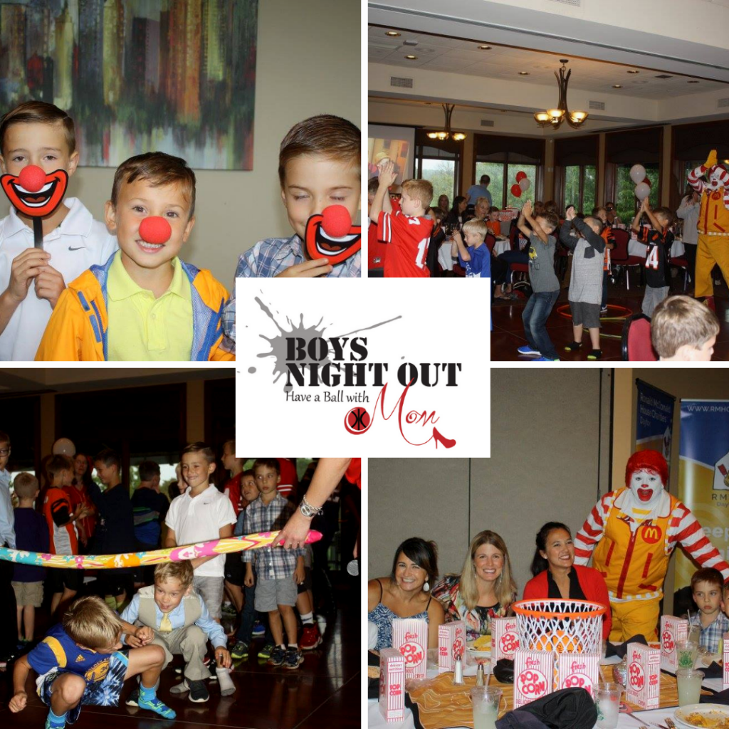 Boys Night Out With Mom Logo centered, boys with clown nose and smiles, boys dancing with moms, boys playing limbo, guests at table with Ronald McDonald